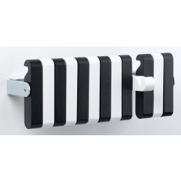 Wandgarderobe pieperconcept piano, Metall verchromt, Massivholz schwarz-weiß