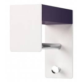 Wandgarderobe pieperconcept faro, Metall weiß, Massivholz, violett